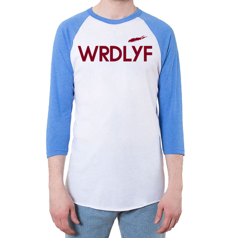 50/50 Raglan 3/4 Sleeve T-Shirt (White/Heather Lake Blue)
