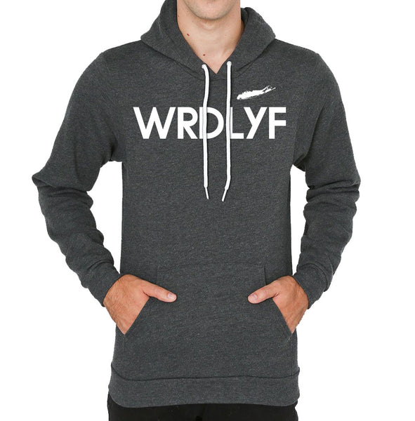 Fleece Drop Shoulder Pull Over Hoodie (Dark Heather Grey)