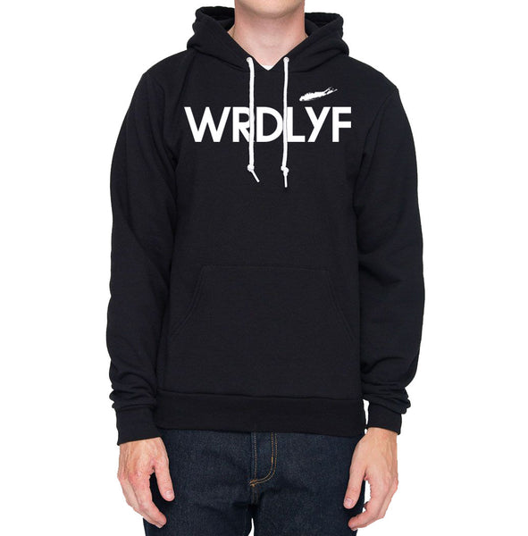 Fleece Drop Shoulder Pull Over Hoodie (Black)