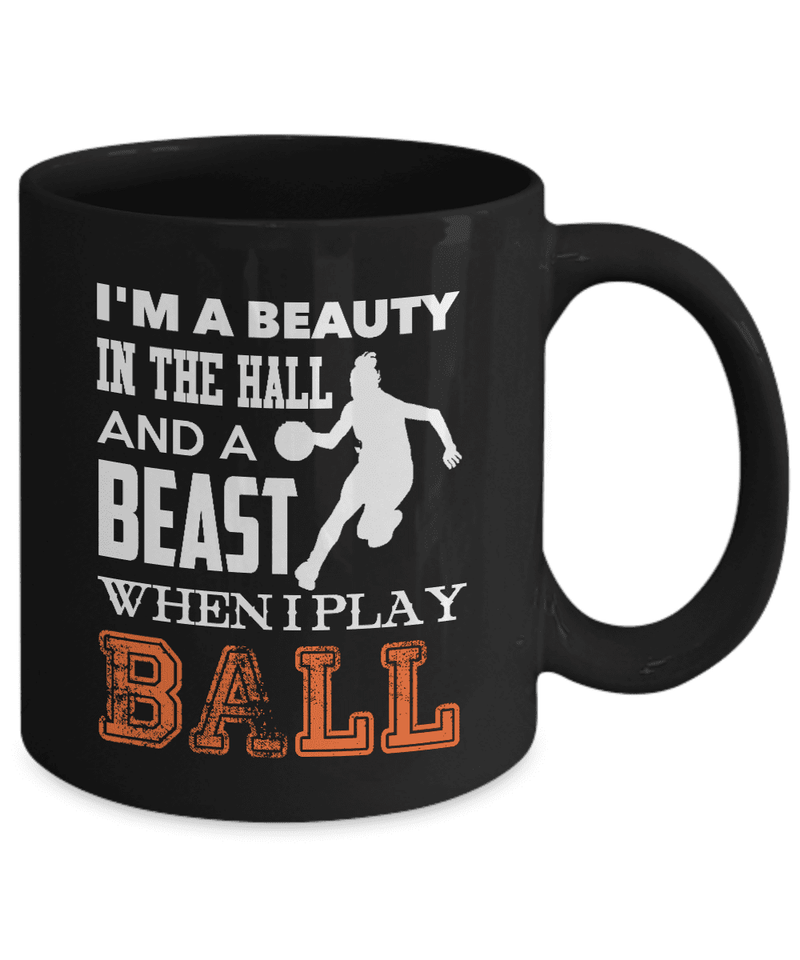 Basketball Mug | Black - Beast When I Play Ball-Drinkware-Spyder Deals