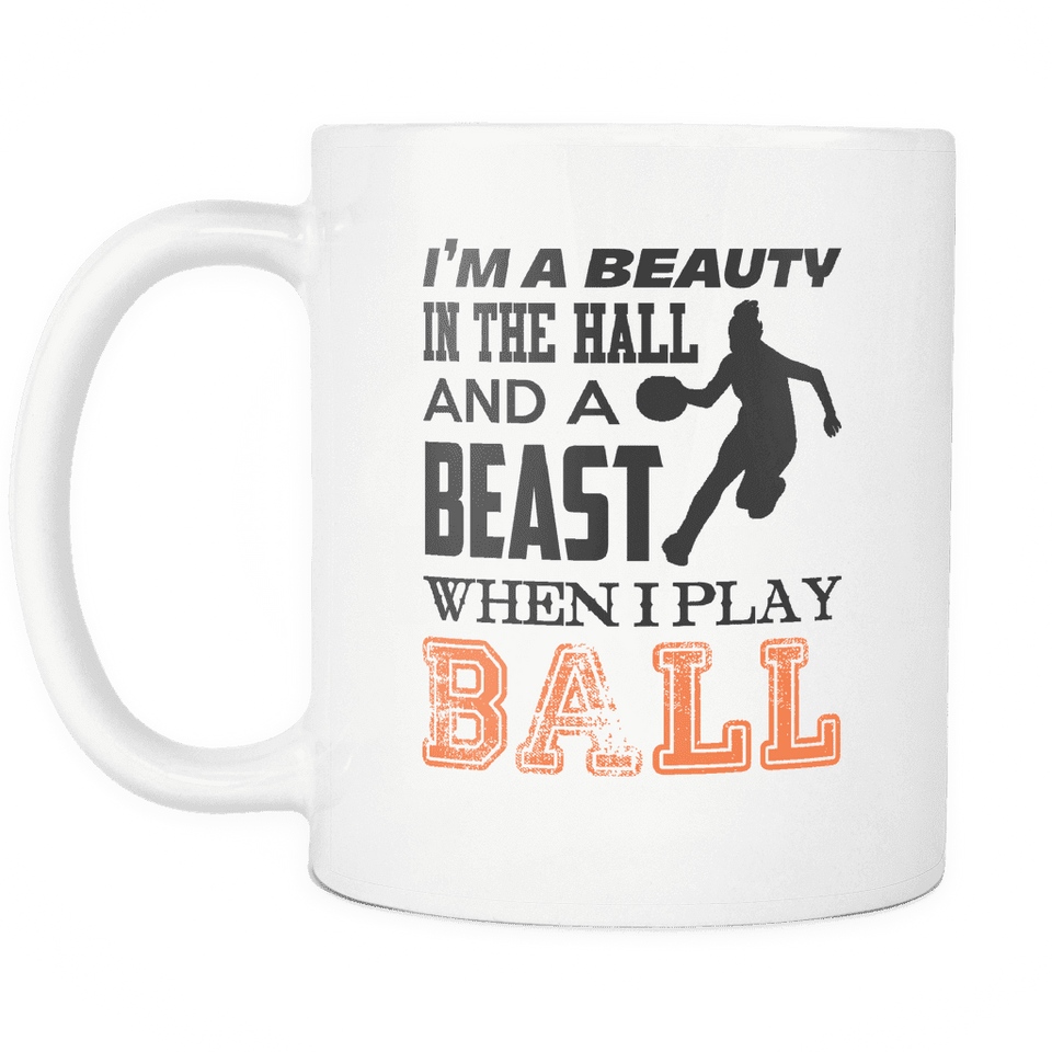 Basketball Mug | White - Beast When I Play Ball-Drinkware-Spyder Deals