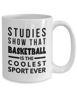 Basketball Mug | White - Studies Show That Basketball Is The Coolest Sport Ever-Coffee Mug-Spyder Deals