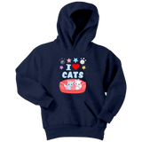 Cat Hoodie -Youth - I Love Cats
