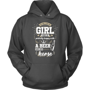 Horse Hoodie - Happy With A Beer