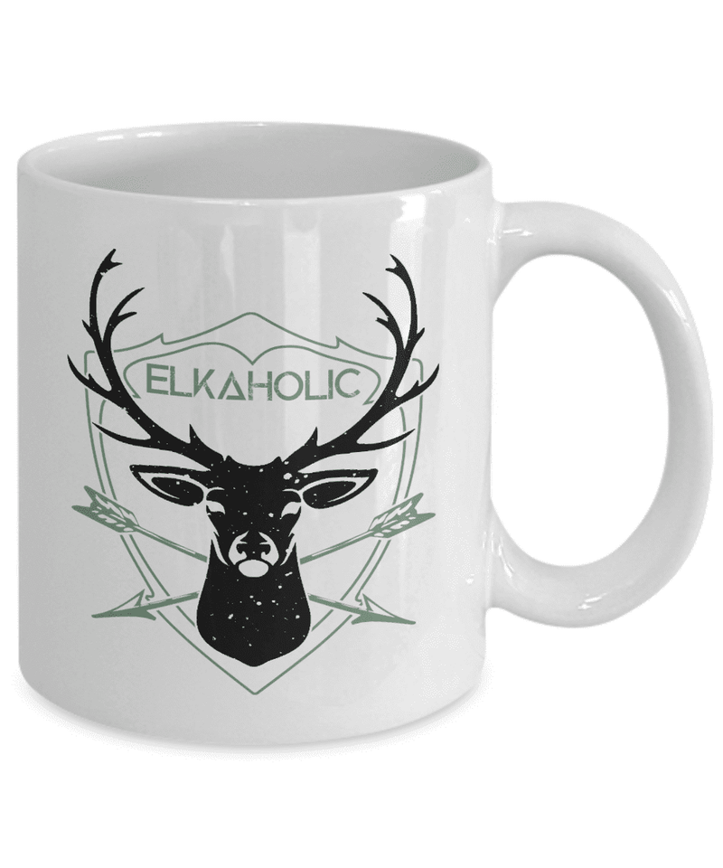 Hunting Mug | White - Elkaholic-Coffee Mug-Spyder Deals