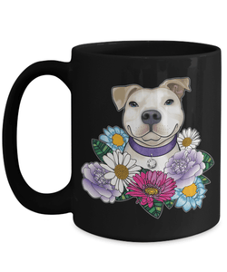 Pit Bull Coffee Mug Perfect Funny Gift for Dog Owners and Animal Lover People | White Pit Bull With Flowers