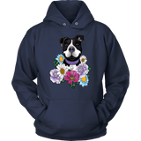 Pitbull Hoodie - Black Pit Bull With Flowers-T-shirt-Spyder Deals