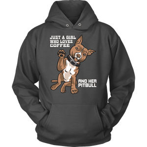 Pitbull Hoodie - Just A Girl Who Loves Coffee And Her Pitbull-T-shirt-Spyder Deals