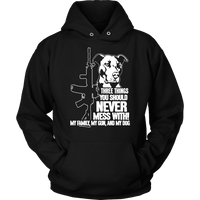 Pitbull Hoodie - Three Things You Should Never Mess With-T-shirt-Spyder Deals