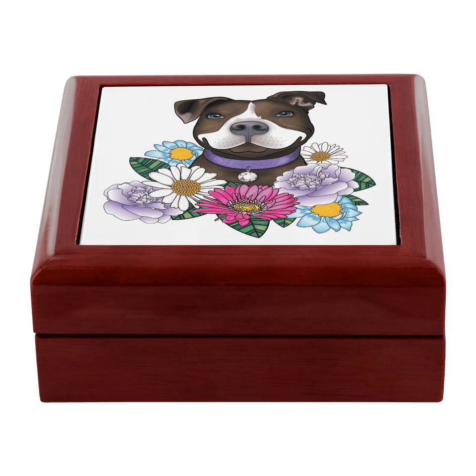 Pitbull Jewelry Box - Brown And White Pit Bull With Flowers