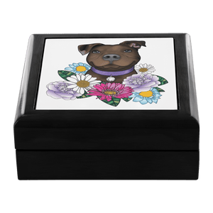 Pitbull Jewelry Box - Brown Pit Bull With Flowers
