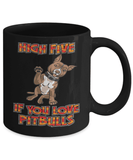 Pitbull Mug | Black - High Five If You Love Pitbulls-Drinkware-Spyder Deals