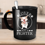 Pitbull Mug | Black - Lover Not A Fighter-Drinkware-Spyder Deals