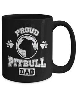 Pitbull Mug | Black - Proud Pitbull Dad-Coffee Mug-Spyder Deals