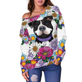 Pitbull Off Shoulder Sweater | White - Black Pit Bull With Flowers