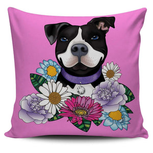 Pitbull Pillow Cover | Black Pit Bull With Flowers-Pillow Covers-Spyder Deals