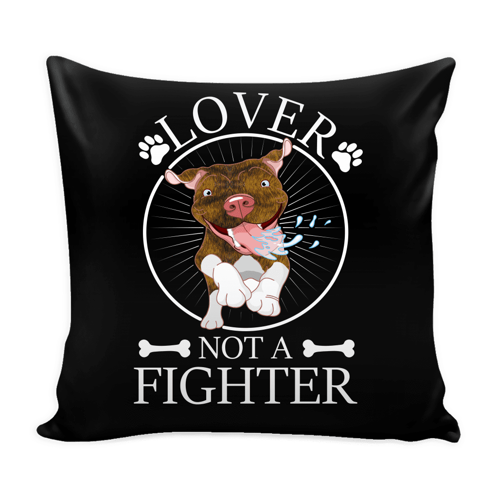 Pitbull Pillow Cover | Brindle - Lover Not A Fighter-Pillows-Spyder Deals