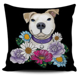 Pitbull Pillow Cover | White Pit Bull With Flowers-Pillow Covers-Spyder Deals