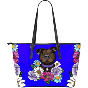 Pitbull PU Leather Tote Bag | Large Express Shipping - Brown Pit Bull With Flowers