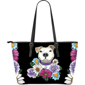 Pitbull PU Leather Tote Bag | Large Express Shipping - White Pit Bull With Flowers