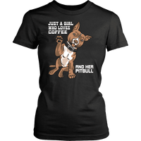 Pitbull Shirt - Just a Girl Who Loves Coffee and Her Pitbull-T-shirt-Spyder Deals