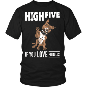 Pitbull Shirt | Unisex - High Five-T-shirt-Spyder Deals