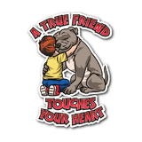Pitbull Sticker - A True Friend Touches Your Heart-Stickers-Spyder Deals