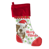Pitbull Stocking | White - Merry Pitmas-Stockings-Spyder Deals