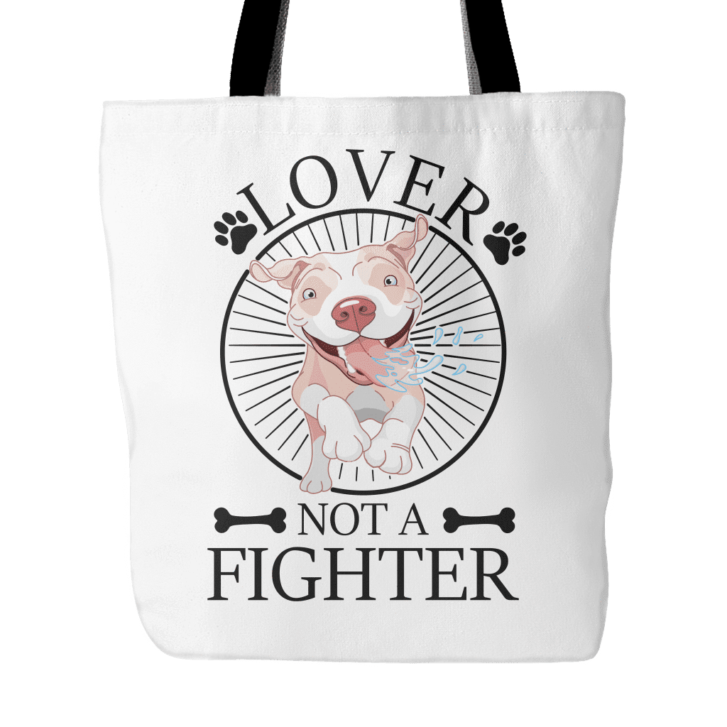 Pitbull Tote Bag- Lover Not A Fighter-Tote Bags-Spyder Deals