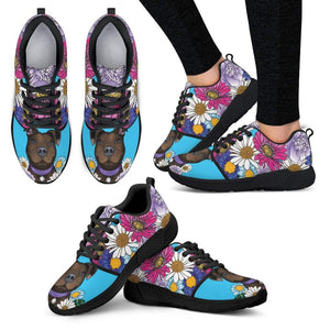Womens Pitbull Shoes | Athletic Sneakers - Brown Pit Bull With Flowers-Womens Athletic Sneakers-Spyder Deals
