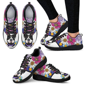 Womens Pitbull Shoes | Athletic Sneakers | EXPRESS SHIPPING- Black Pit Bull With Flowers