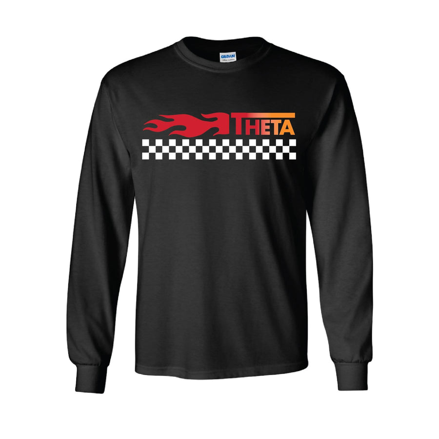 Black Checkered Flame Long Sleeve Tee <br> (available for all organizations!)