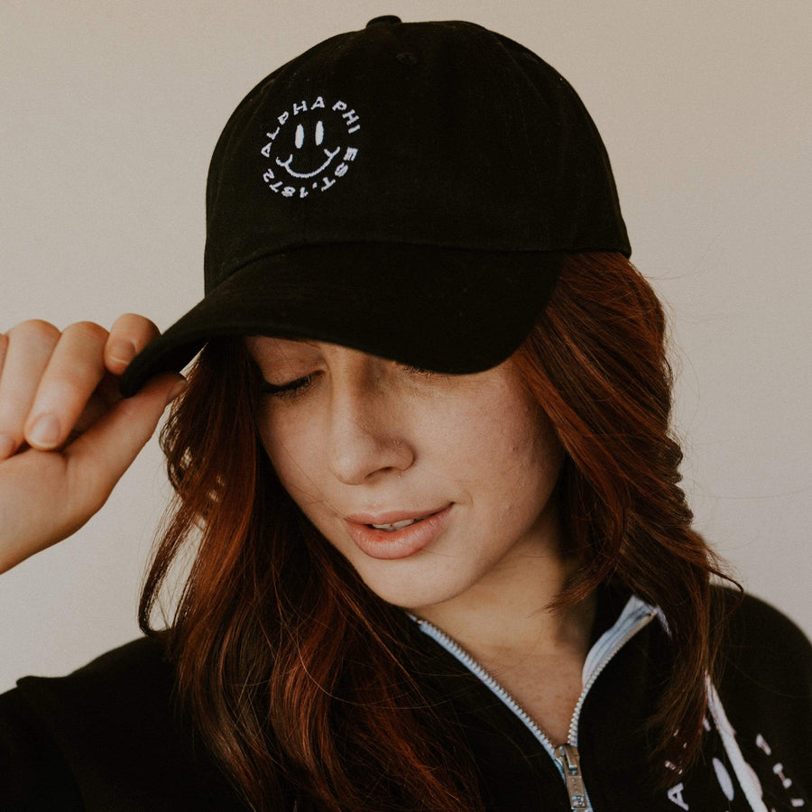 Ali & Ariel Black Embroidered Smiley Hat <br> (available for all sororities)