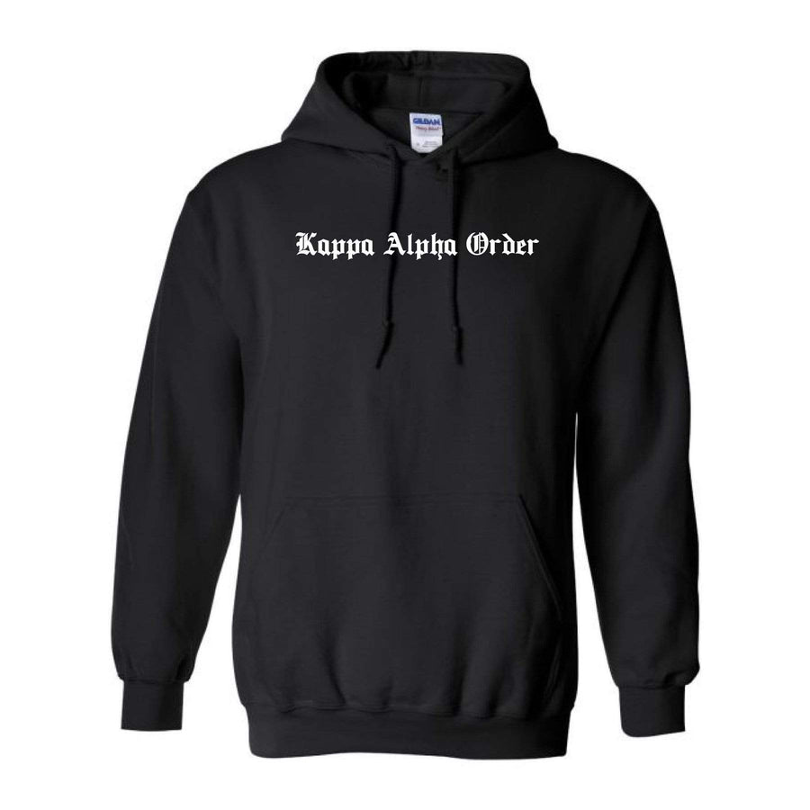 Ali & Ariel Black Old English Hoodie <br> (available for all fraternities)