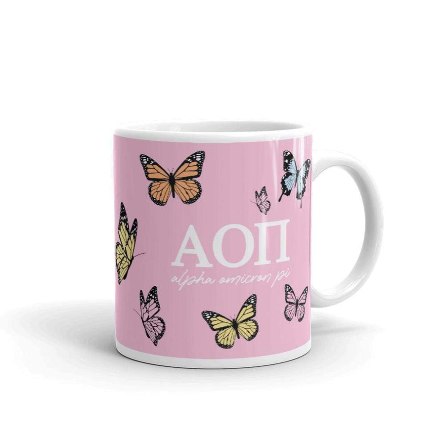 Ali & Ariel Butterfly Mug (available for multiple organizations!) Alpha Omicron Pi / 11 oz