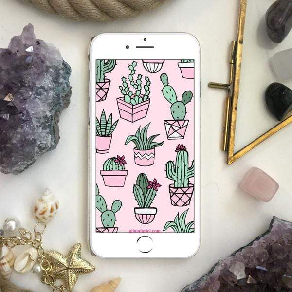 Ali & Ariel Cactus Pots Pattern FREE iPhone Download