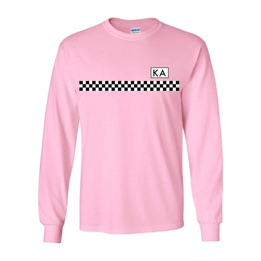 Checkered Stripe Long Sleeve Pink Tee <br> (available for all fraternities!)