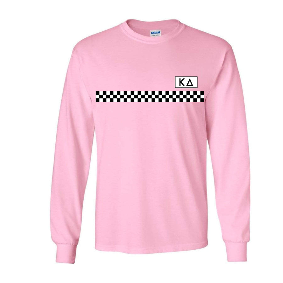 Pink Checkered Stripe Long Sleeve <br> (available for all organizations!)