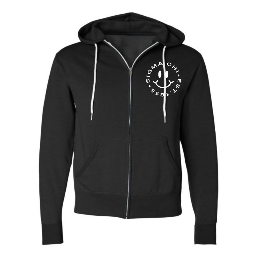Embroidered Smiley Zip Up Hoodie (Mens) <br> (available for all fraternities)