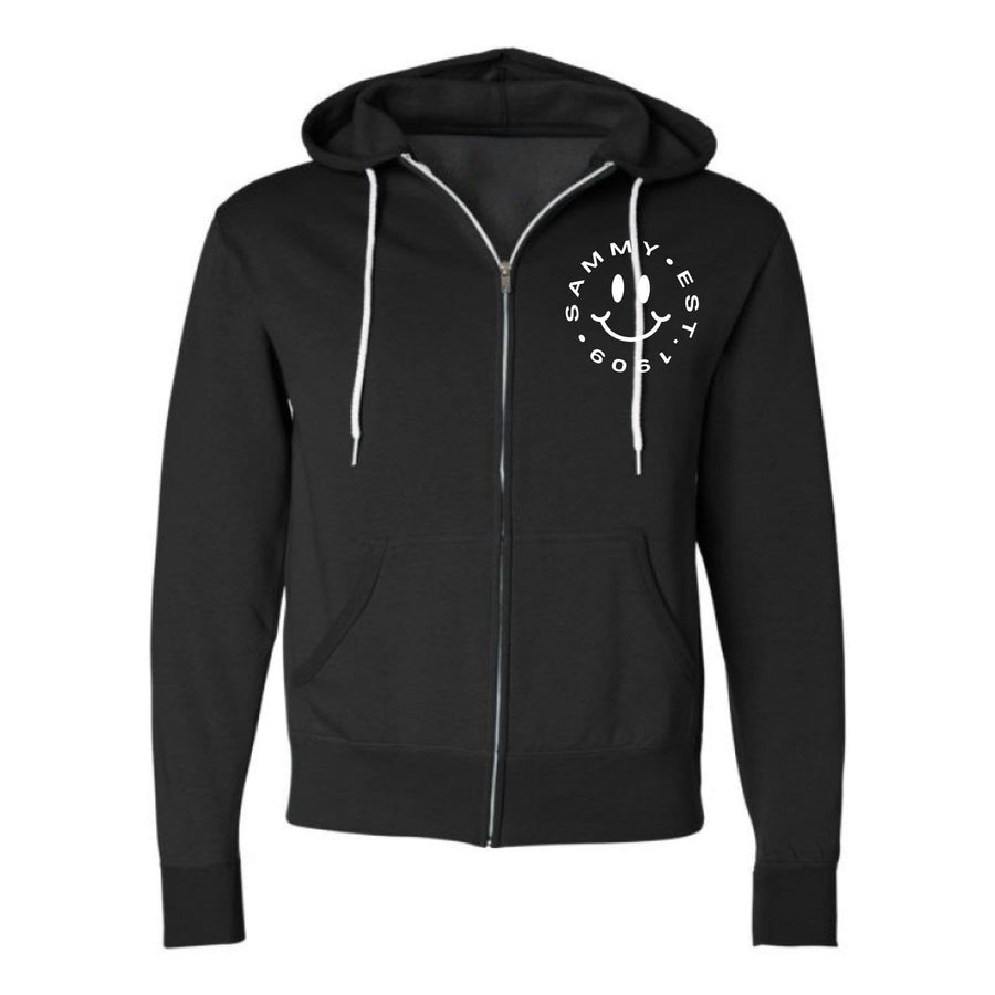 Ali & Ariel Embroidered Smiley Zip Up Hoodie (Mens) <br> (available for all fraternities)