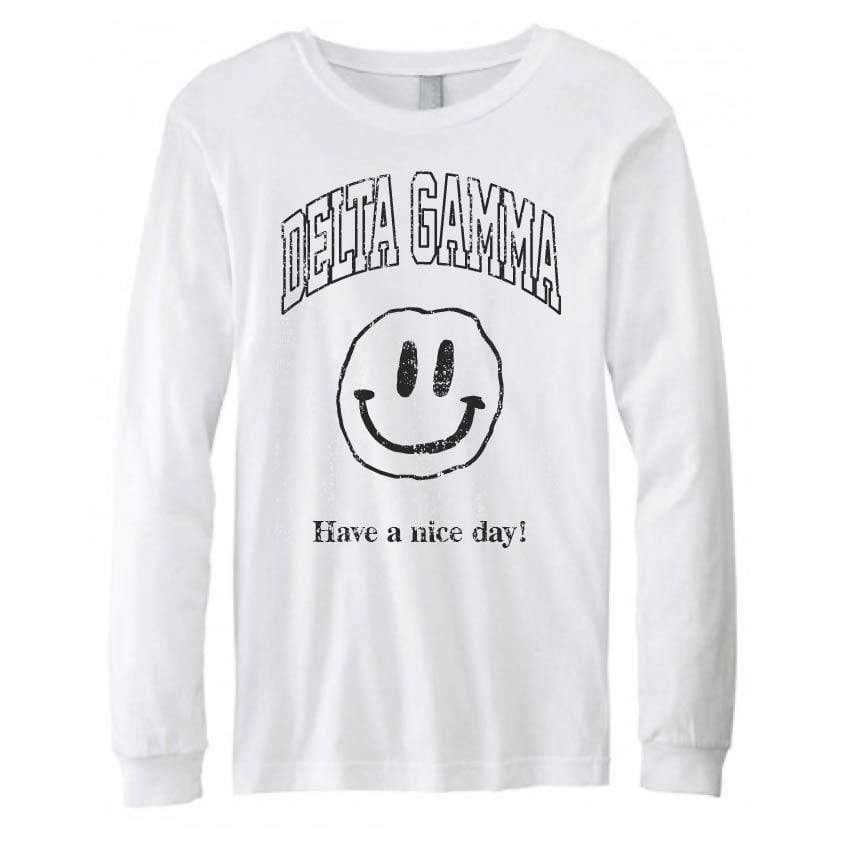 Ali & Ariel Have a Nice Day Long Sleeve in White <br> (sororities A-D)