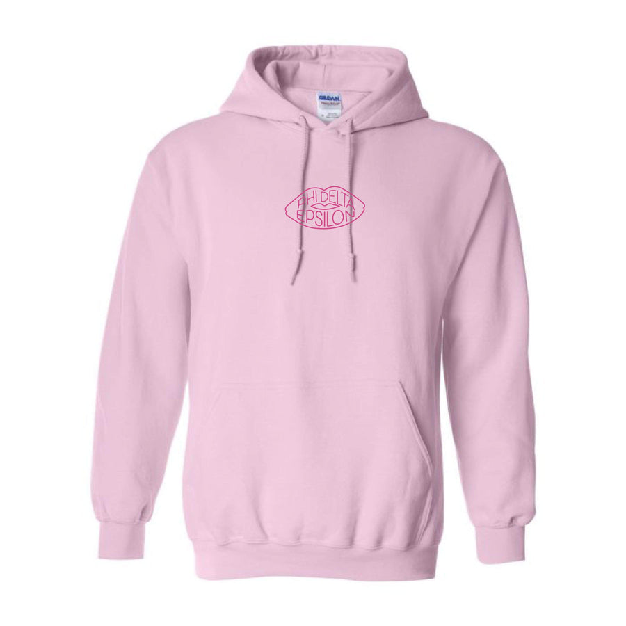 Pink on Pink Embroidered Lip Hoodie <br> (sororities G-Z)