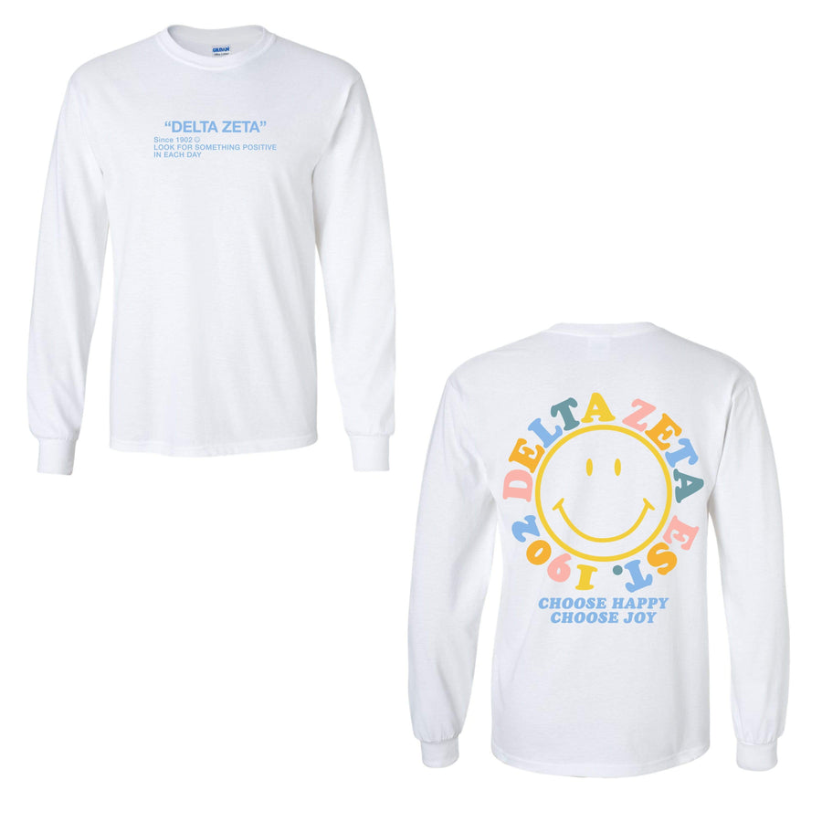Ali & Ariel Rainbow Smiley Long Sleeve Tee <br> (sororities A-D)
