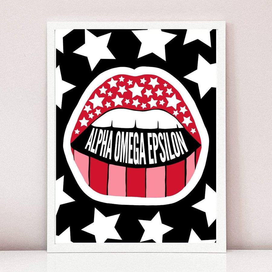 Read My Lips Art Print in White Frame