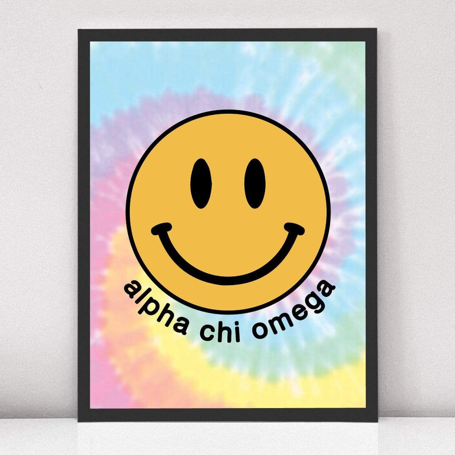 Smiley Tie Dye Art Print in Black Frame