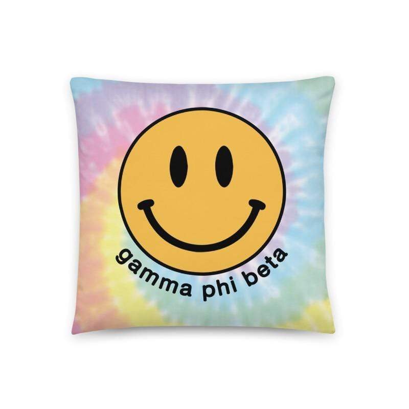 Smiley Tie Dye Pillow <br> (available for multiple sororities)