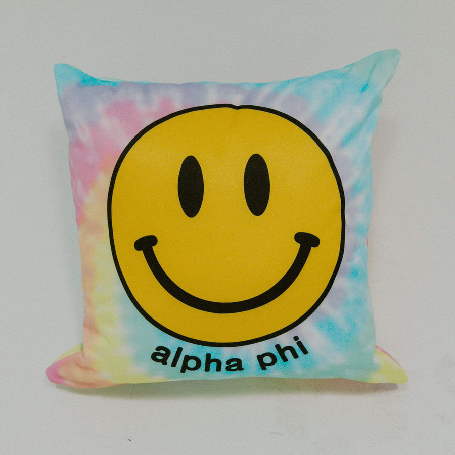 Ali & Ariel Smiley Tie Dye Pillow <br> (available for multiple sororities)