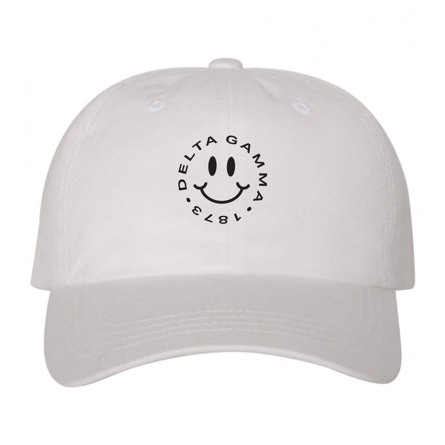Ali & Ariel White Embroidered Smiley Hat <br> (available for all sororities)