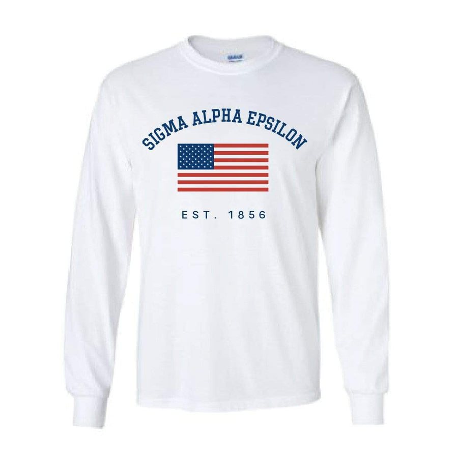 White USA Long Sleeve <br> (available for all fraternities!)