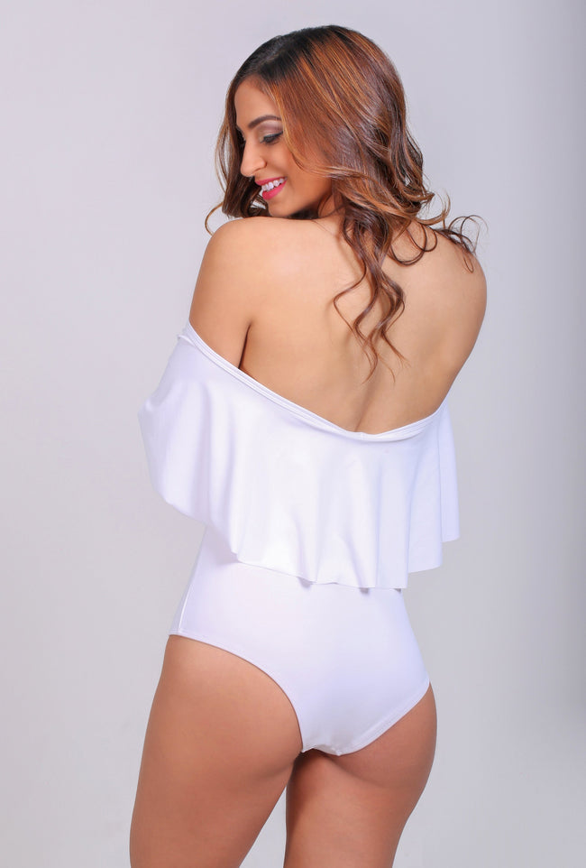 White off the shoulders monokini